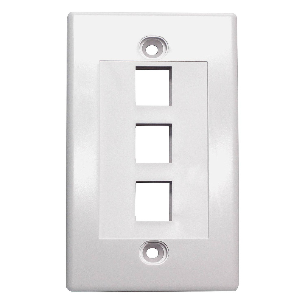 3-PORT PLASTIC KEYSTONE WALL PLATE - WHITE
