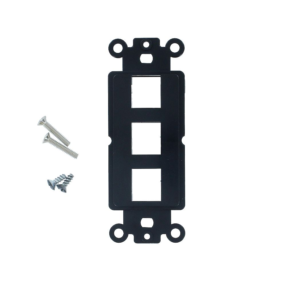 3-PORT DECORA STRAP KEYSTONE INSERT - BLACK