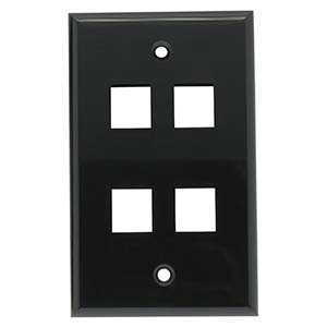 4-PORT PLASTIC KEYSTONE WALL PLATE - BLACK