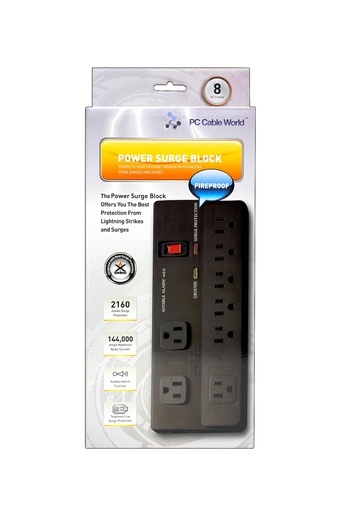 [MM013] POWER BAR 8 OUTLET 6' 360 PLUG 2160J SURGE/EMI/RFI BLACK