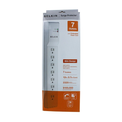 [BE712SP] BELKIN 7 OUTLET POWER BAR WITH 12' CORD