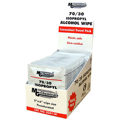 [CA8241WX] MG CHEMICALS 70/30 ISOPROPYL ALCOHOL WIPES, 25/PACK