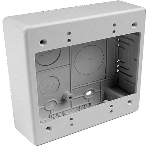 "[HTJBD1] JUNCTION BOX DUAL GANG 1.25"" DEPTH-WHITE"