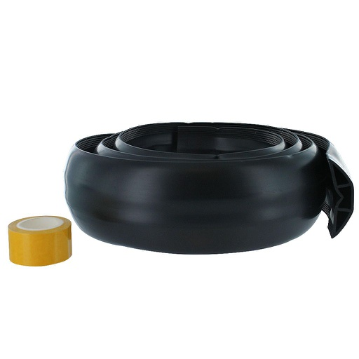 [FCC6B] BLACK FLOOR CORD COVER W/ADHESIVE TAPE - 6'