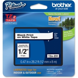 [PTTZE231] BROTHER P-TOUCH TZE231 12MM LABEL TAPE (BLACK-ON-WHITE)