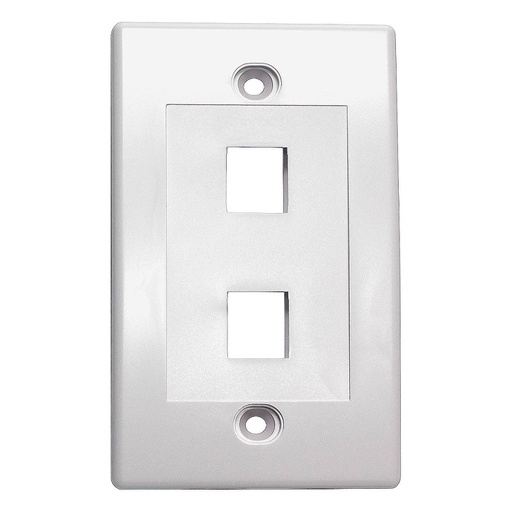 [SJ702] 2-PORT PLASTIC KEYSTONE WALL PLATE - WHITE