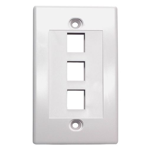 [SJ703] 3-PORT PLASTIC KEYSTONE WALL PLATE - WHITE