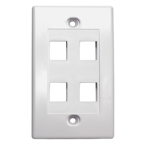 [SJ704] 4-PORT PLASTIC KEYSTONE WALL PLATE - WHITE