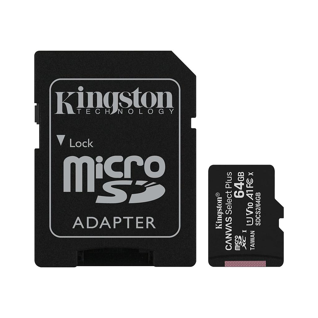 [SDCS264GB] KINGSTON CANVAS SELECT PLUS U1 V10 64GB MICROSD
