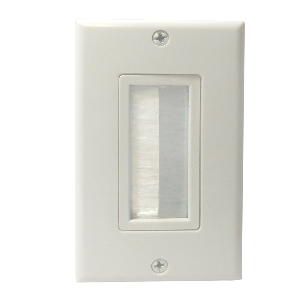 [WP1GBS] 1-GANG BRUSH STYLE CABLE PASS-THROUGH DECORA WALL PLATE - WHITE